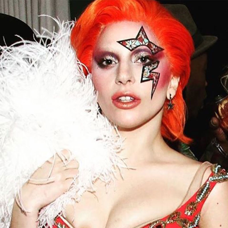 Lady Gaga at a Grammys after party. Bespoke Face Lace with makeup by Sarah Tanno.