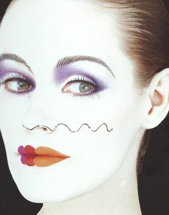 A test shoot with photographer Robyn Beeche. Leigh Bowery told Robyn that he was greatly inspired by this makeup. It has also been referred to by  Isamaya Ffrench.