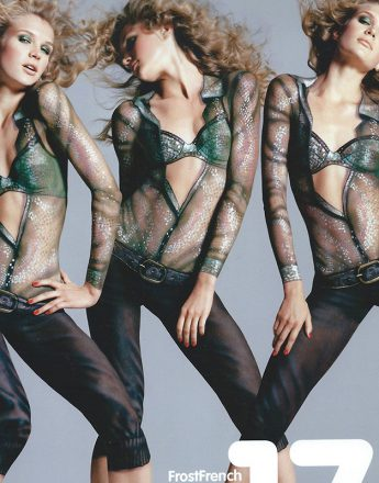 Boots 17 Ad where Phyllis Cohen body-painted clothing on the model. Photography Richard Bush.