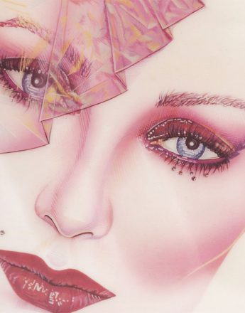 Close-up of a beauty illustration done for portfolio development when Phyllis Cohen was 21 years old.