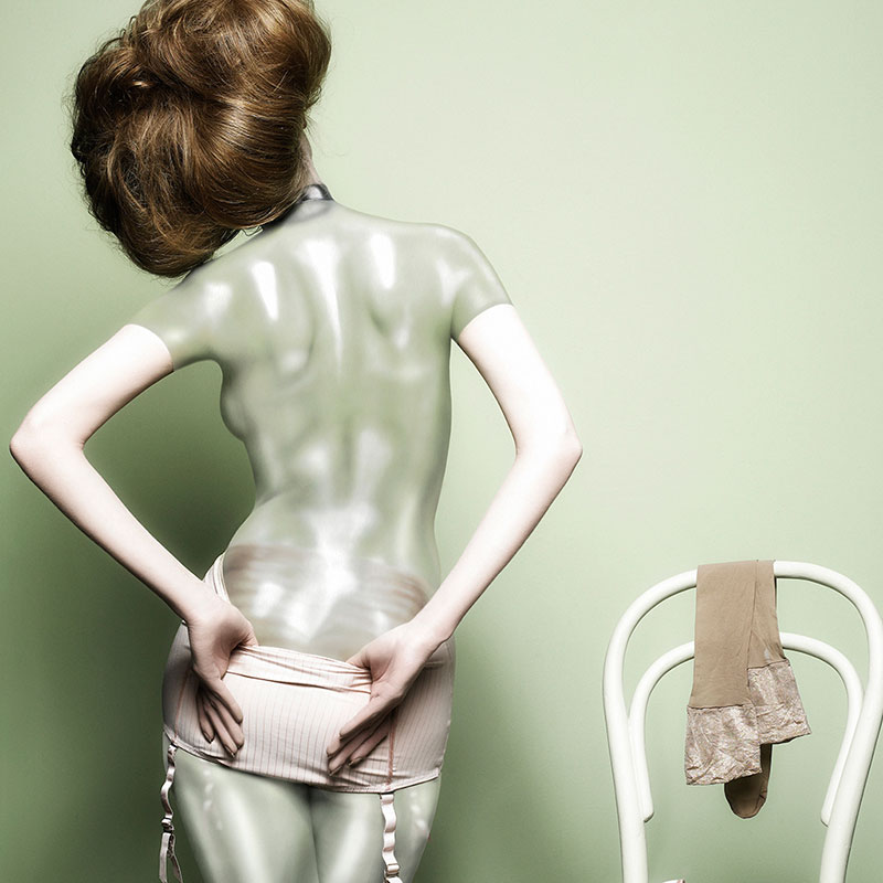Model body-painted to look like glass, by Phyllis Cohen. Photography by Matthew Shave for Sunday Times Style.
