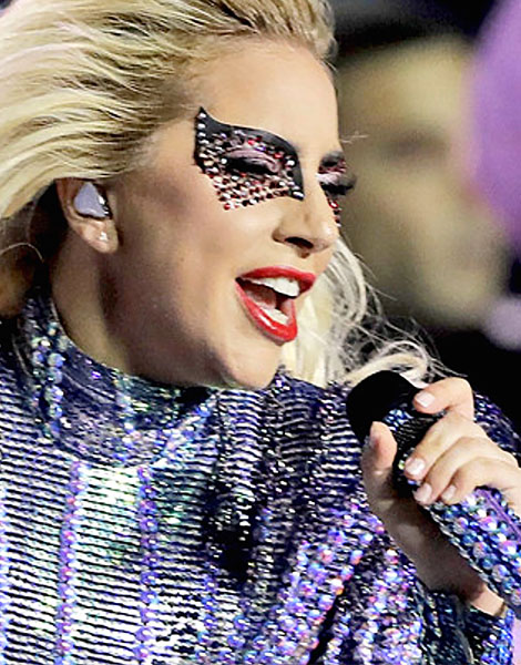 Bespoke design commissioned by makeup artist, Sarah Tanno, for Lady Gaga. The design is covered with 120 Swarovksi crystals and was featured in Lady Gaga's Superbowl 51 performance.